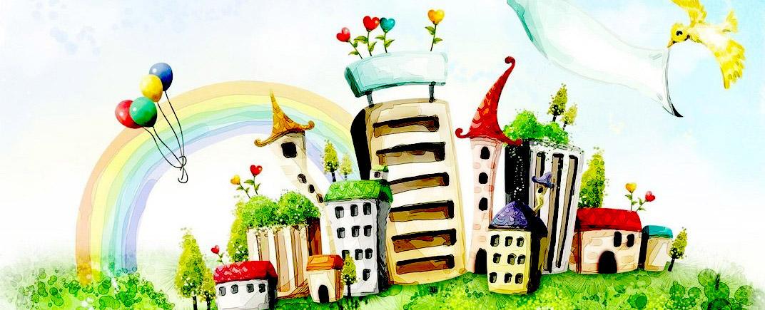 UEEL commission des bâtiments - aquarelle colorée d'une ville